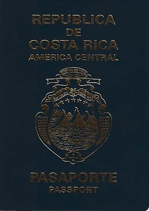 Costa Rican passport - Costa Rican passport front cover