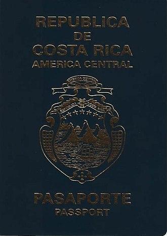 Costa Rican passport - Costa Rican passport front cover