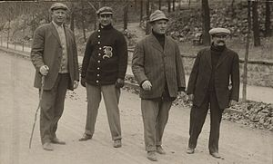 Jake Stahl - L to R: Cy Young, Stahl, Bill Carrigan and Michael T. McGreevy during spring training in 1912.