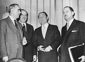 London-Zürich Agreements - From left to right: Greek Prime Minister Karamanlis, Turkish Minister of Foreign Affairs Zorlu and Turkish Prime Minister Menderes at the negotiations in Zürich, Switzerland