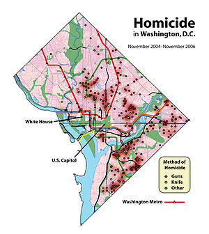 Gun violence in the United States - Gun and overall homicides in Washington, D.C. are concentrated in crime hot spots located in neighborhoods (including Shaw, Sursum Corda, Trinidad, Anacostia, and Congress Heights) with socio-economic disadvantage, while homicide is rare in other neighborhoods.