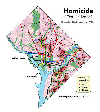 Crime in Washington, D.C. - Homicides in Washington, D.C. are concentrated in eastern neighborhoods.