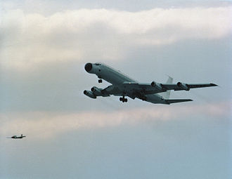 Boeing C-137 Stratoliner - An EC-18B Advanced Range Instrumentation Aircraft (ARIA) takes off on its first flight at Wright-Patterson AFB, Ohio, following its conversion from a Boeing 707-320.