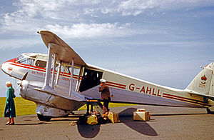St Mary's Airport, Isles of Scilly - British European Airways De Havilland Dragon Rapide at St Mary's airfield in 1958 before departure to Lands End airport.