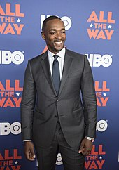 Mackie at the All the Way premiere at the LBJ Library in Austin