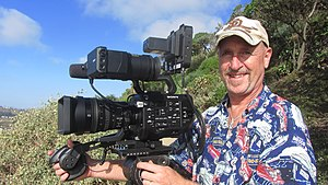 Electronic field production - Image: DP Mark Schulze with Sony FS7 camera and Convergent Design Odyssey 7Q+ recorder monitor