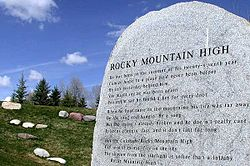 "The lyrics to ""Rocky Mountain High"", one of Colorado's official state songs, in Rio Grande Park near Denver's hometown of Aspen, Colorado."