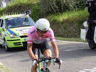 2005 Giro d'Italia - Then race leader Danilo di Luca riding during the stage 8 individual time trial.