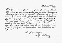 Dankesschreiben Justus Liebigs an Heinrich Emanuel Merck (Quelle: Wikimedia)