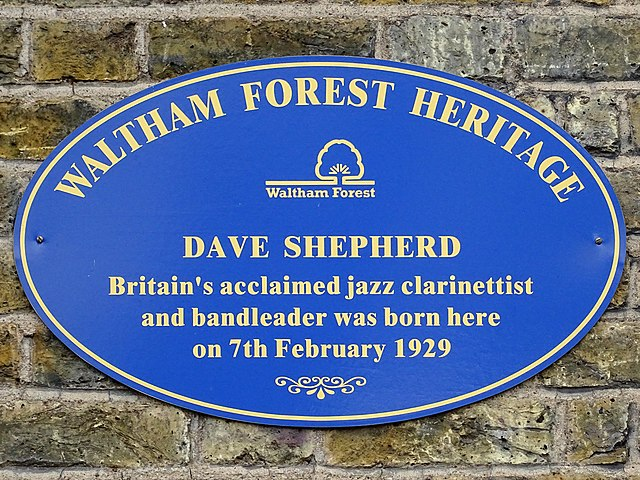 Dave Shepherd blue plaque - Dave Shepherd Britain's acclaimed jazz clarinetist and bandleader was born here on 7th February 1929