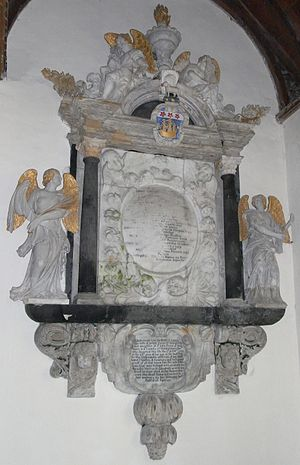 "John Davie - Mural monument to John Davie (died 1710) and his wife, west wall of North Aisle Chapel (""Orleigh Chapel""), Buckland Brewer Church, Devon"