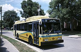 Dayton ETI 14TrE trolleybus 9601 at Stroop in 1996.jpg