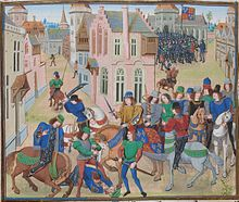 Picture from an illuminated manuscript showing a townscape with a group of horsemen, some wielding swords and one man driving a sword through the head of a prostrate man. In the background there is an army of armoured soldiers.