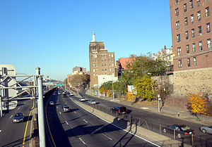 Highbridge, Bronx - Looking north from 161st Street pedestrian overpass at Major Deegan Expressway