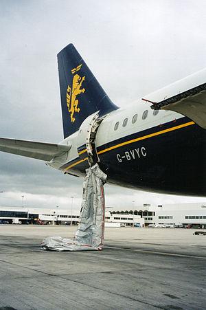 Evacuation slide - Deflated evacuation slide on an Airbus A320