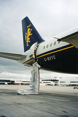 Evacuation slide - Deflated evacuation slide on an Airbus A320 following an inadvertent deployment, 2007