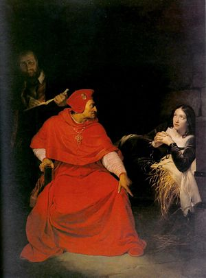 Henry Beaufort - Historical painting by Paul Delaroche showing Cardinal Beaufort interrogating Joan of Arc in prison.