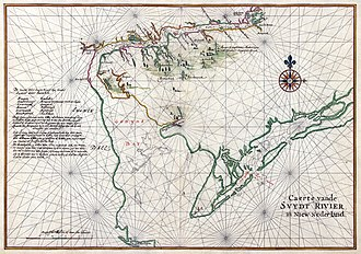 History of Delaware - Nautical chart of the Dutch colony Zwaanendael and Godyn's Bay (Delaware Bay), 1639