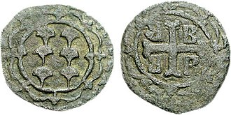 Francesco II Gattilusio - Bronze denaro of Francesco II, with the Gattilusi arms and the tetragrammic cross of the Byzantine Empire