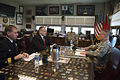 Deputy Defense Secretary Bob Work, center, meets with Army Maj. Gen. Paul LaCamera, commanding general, 4th Infantry Division, to discuss matters of importance during a visit on Fort Carson, Colo., April 15, 20 150415-D-DT527-545.jpg