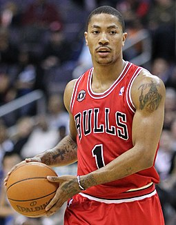 Derrick Rose was drafted first overall by the Bulls in 2008. He was the 2010-2011 regular season MVP. Derrick Rose 2.jpg