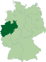 Mapa ning Germany, karinan ning Pangulung Rhine-Westphalia highlighted