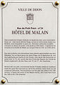 Dijon Hotel de Malain plaque information.jpg