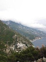 Dionysiou monastery from adjacent hill.jpg