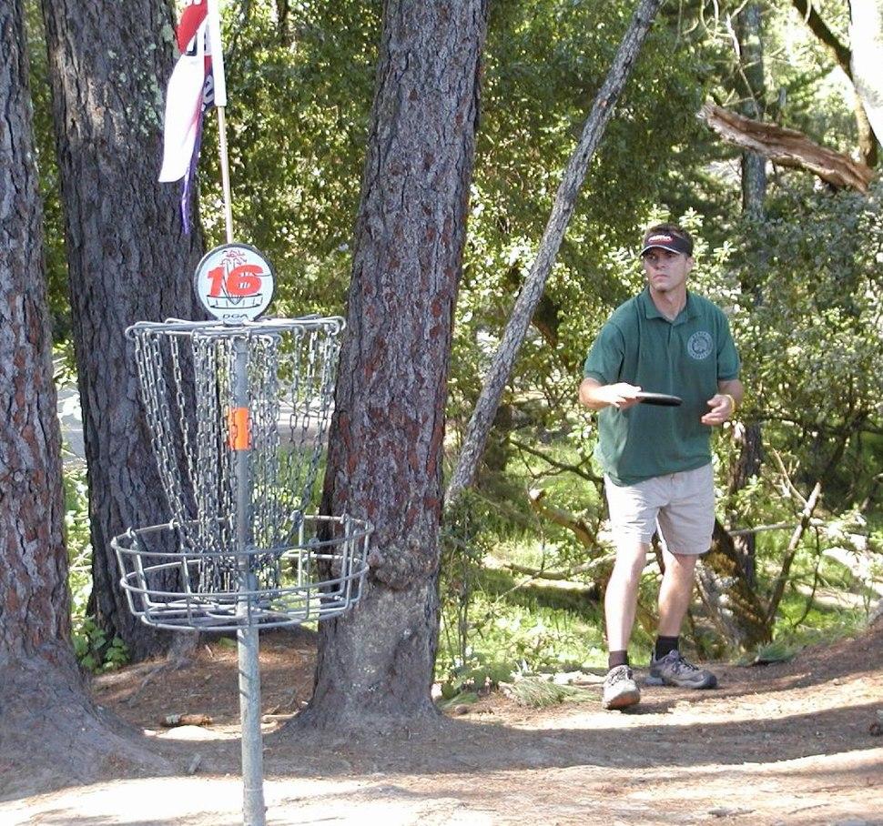Disc golfer and basket