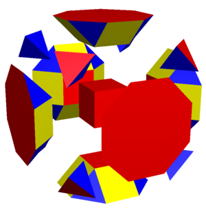 Truncated cube - Dissected truncated cube, with elements expanded apart