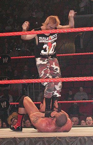 Spike Dudley - Dudley executing a diving double foot stomp on Rodney Mack in 2003