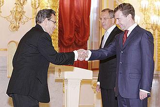 Manuel Antonio Barrantes Rodríguez - Barrantes Rodríguez presenting his credentials to Dmitry Medvedev in May 2009.