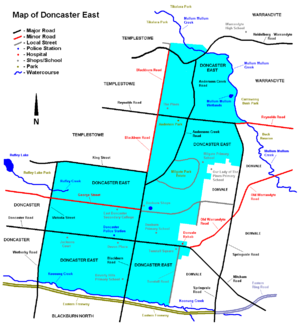 Doncaster East, Victoria - Map of Doncaster East