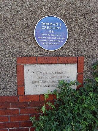 Dormanstown - A plaque laid by Arthur Dorman's wife Clara Dorman