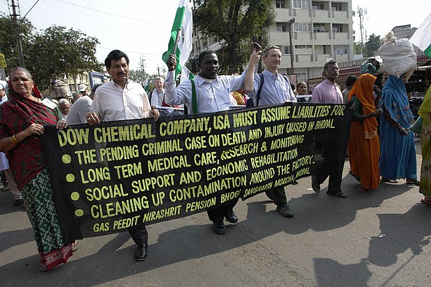 Protest in Bhopal in 2010 Dow Chemical banner, Bhopal.jpg
