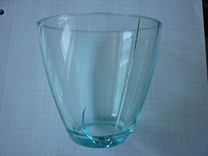 Thermal expansion - Drinking glass with fracture due to uneven thermal expansion after pouring of hot liquid into the otherwise cool glass