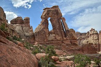 Cedar Mesa Sandstone -  Druid Arch in Canyonlands National Park, an eroded fin of Cedar Mesa Sandstone
