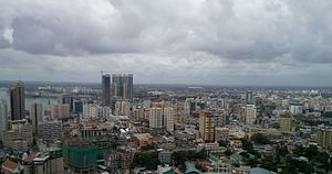 An aerial view of the Dar es Salaam city skyline during the day time.