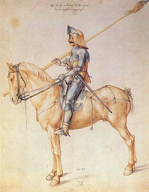 Man-at-arms - German man-at-arms 1498 by Albrecht Dürer. The equipment is that of a demi-lancer