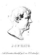 Johann Christoph Friedrich Haug, Kupferstich von Anton Duttenhofer nach einem Gips-Reliefmedaillon aus dem Jahr 1815 von Johann Heinrich Dannecker (Quelle: Wikimedia)