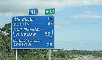European route E01 - E01 in County Wexford, Ireland.