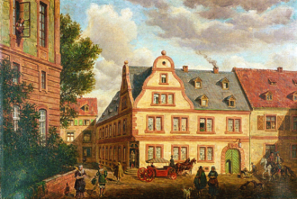 Merck Group - The Angel Pharmacy in Darmstadt which was owned by the Merck family from 1668; the beginning of the Merck company