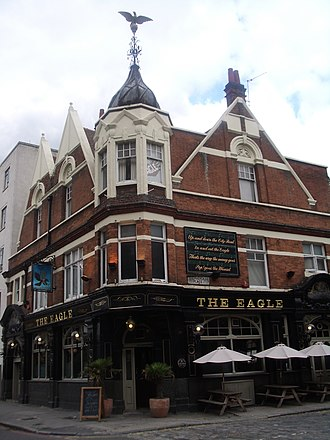 Pop Goes the Weasel - The Eagle pub in City Road, London, with the rhyme on the wall