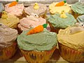 Easter cupcakes topped with carrots, bunnies, and ducks.jpg