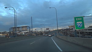 Massachusetts Turnpike - The eastern terminus of the turnpike in the state, and I-90 nationally, at Route 1A in Boston
