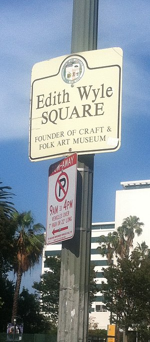 Edith R. Wyle - Signage for Edith Wyle Square, on Wilshire Avenue in Los Angeles, California, USA.