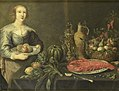 Een jonge vrouw bij een tafel met vruchten Rijksmuseum SK-A-737.jpeg
