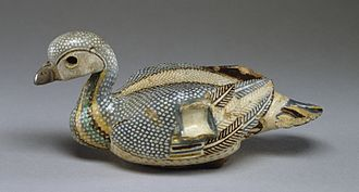 Domestic duck - Ducks were common in Ancient Egypt, as depicted in this 3rd century BC faience vase.