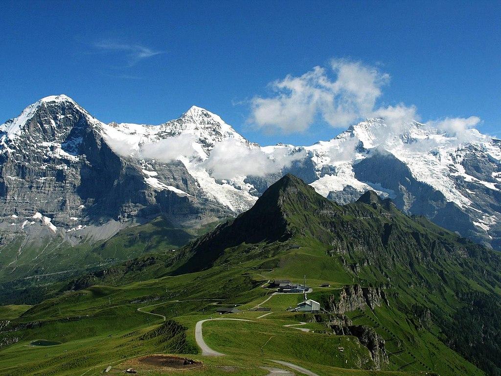 Eiger, Mönch und Jungfrau (Schweiz Rundfahrt Sehenswürdigkeit und Weltnaturerbe)