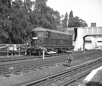 Acton Town tube station - Image: Electric locomotive at Acton Town